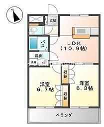岡山県倉敷市連島中央1の賃貸アパートの間取り
