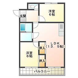 兵庫県たつの市龍野町堂本の賃貸マンションの間取り