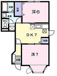千葉県東金市田間3丁目の賃貸アパートの間取り