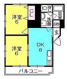 ハイツ室川I・II[2-203号室]の間取り