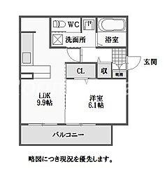徳島県徳島市沖浜町居屋敷の賃貸アパートの間取り