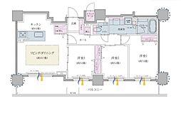 クリオ円山鳥居前 9階3LDKの間取り
