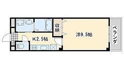 JR阪和線 日根野駅 徒歩8分の賃貸アパート 1階1Kの間取り