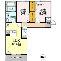 仮)D-room今保 A棟[2階]の間取り