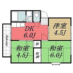 JR成田線 成田駅 バス15分 七栄三叉路下車 徒歩1分の賃貸アパート 2階3DKの間取り