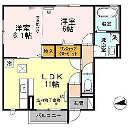 青森県八戸市新井田西2丁目の賃貸アパートの間取り