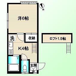 東京都中野区弥生町4丁目の賃貸アパートの間取り