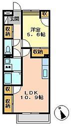 岐阜県加茂郡坂祝町取組の賃貸アパートの間取り