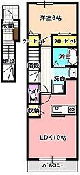 長野県飯田市三日市場の賃貸アパートの間取り