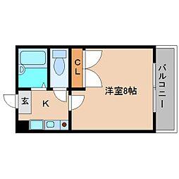 近鉄南大阪線 高田市駅 徒歩15分の賃貸マンション 1階1Kの間取り