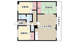 愛知県名古屋市名東区猪高台2丁目の賃貸マンションの間取り