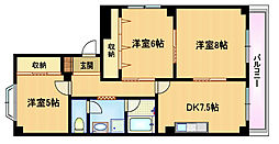 Osaka Metro谷町線 都島駅 徒歩5分の賃貸マンション 3階3DKの間取り