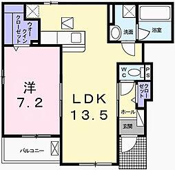細野町アパートA 1階1LDKの間取り