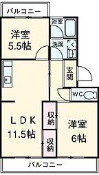 愛知県安城市横山町石ナ曽根の賃貸マンションの間取り
