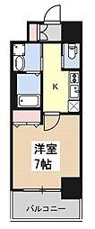 ヒュッテンベルケ大阪なんば 2階1Kの間取り
