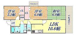 プランドール中屋 3階3LDKの間取り
