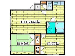 イシオカマンション2[4階]の間取り
