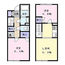 奈良県天理市岩室町の賃貸アパートの間取り