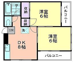 第二萩山コーポ[202号室]の間取り