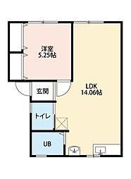 福岡県北九州市小倉南区葛原本町2丁目の賃貸アパートの間取り