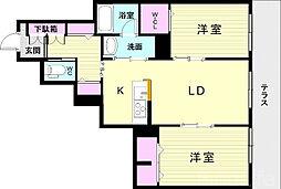 JR東海道・山陽本線 朝霧駅 徒歩31分の賃貸マンション 2階2LDKの間取り