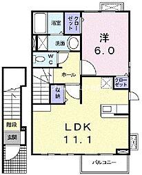 岡山県岡山市南区福成1の賃貸アパートの間取り