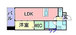 福岡市地下鉄空港線 中洲川端駅 徒歩10分の賃貸マンション 5階1LDKの間取り