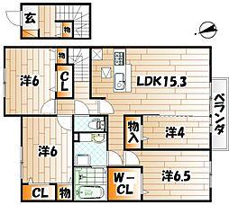 D-room城野駅II B棟[2階]の間取り