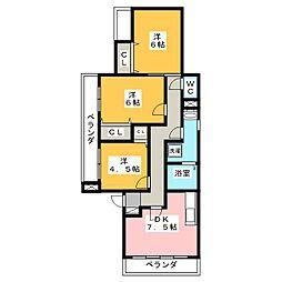 メゾングランシャリオ[1階]の間取り