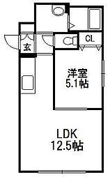 グリュックス・クレー平岸弐番館[4階]の間取り