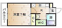 ラリーグラス22[4階]の間取り