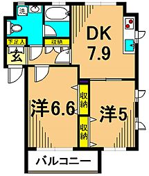 Well House東大井C棟 1階2DKの間取り