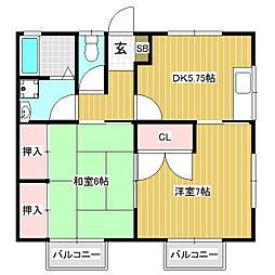 ハイツMATSUNOYA[2階]の間取り