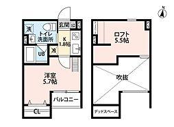メゾンブラン北野田[2階]の間取り