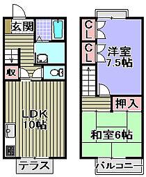 [タウンハウス] 大阪府岸和田市西之内町 の賃貸【大阪府 / 岸和田市】の間取り