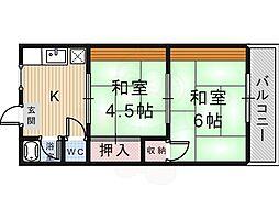 昭喜ハイツ 2階2DKの間取り