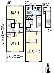 ゼフィールB[3階]の間取り
