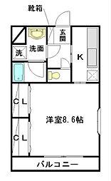 メープルハウス 2階1Kの間取り