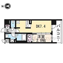 叡山電鉄叡山本線 茶山駅 徒歩3分の賃貸マンション 3階1DKの間取り