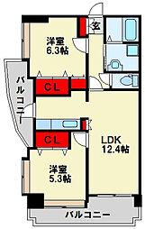 オークランドアサート小倉[10階]の間取り