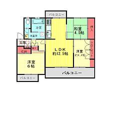 野間台住宅[2F号室]の間取り