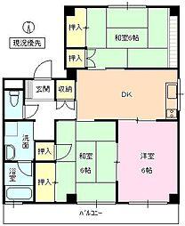 長野県長野市中越2丁目の賃貸アパートの間取り