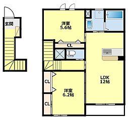 愛知環状鉄道 永覚駅 徒歩6分の賃貸アパート 2階2LDKの間取り