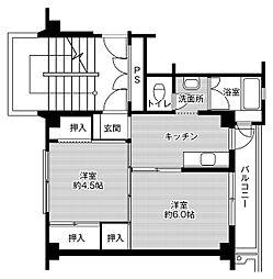 ビレッジハウス米倉2号棟 5階2Kの間取り