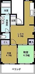 山田ハイツ[4階]の間取り
