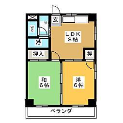 コーポ都[2階]の間取り