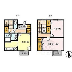 愛知県一宮市伝法寺1丁目の賃貸アパートの間取り