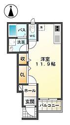 近鉄南大阪線 高見ノ里駅 徒歩4分の賃貸アパート 1階ワンルームの間取り