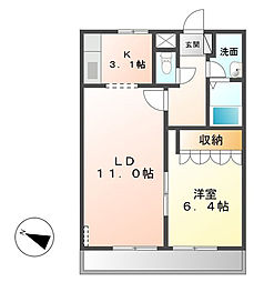 茨城県つくば市若栗の賃貸アパートの間取り