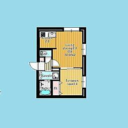 札幌市営南北線 北24条駅 徒歩7分の賃貸マンション 2階1LDKの間取り